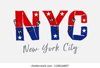 ์NYC slogan with pin illustration