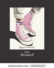 slogan with pink sneaker illustration
