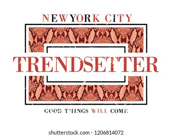 Slogan print, with animal texture, t-shirt graphic print animal texture. slogan tee Newyork city trendsetter.