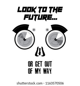 Slogan print design, t shirt vector tee grapic design. Angry robot typography.