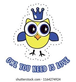 Slogan print design, t shirt vector tee grapic design. Funny owl typography.