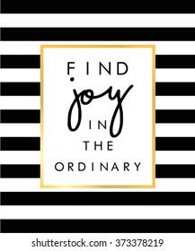 Slogan print on black and white stripe pattern