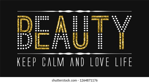 Slogan with Rhinestones and Glitter for Tshirt Graphic Vector Print - Vector