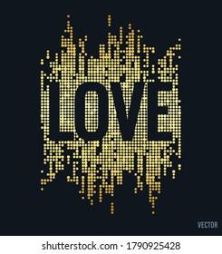 Slogan with Rhinestones, Glitter-Foil for Tshirt Graphic Vector Print Poster. Slogan 'Love' - Vector
