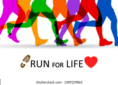 Slogan Run for Life. Sportsman running - stock vector