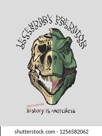 a slogan with a skull and a dinosaur