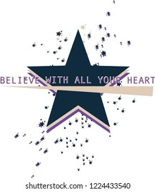 slogan star print grafic