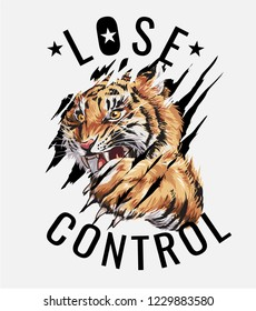 slogan with tiger clawing through illustration