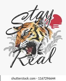 slogan with tiger and sun illustration