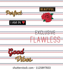Slogan Type and patch with red rose girl embroidery stripe modern Fashion Slogan for T-shirt and apparels graphic vector Print.