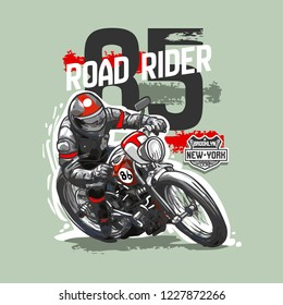 Slogan with vintage motorcycle a racer bike typography for riders. Print with motorbike, old chopper with custom wheels. Apparel for ride on the country. For boys t-shirt. Vector illustration.