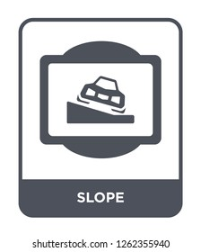 slope icon vector on white background, slope trendy filled icons from Traffic signs collection, slope simple element illustration