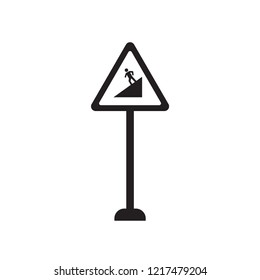 Slope sign icon. Trendy Slope sign logo concept on white background from Traffic Signs collection. Suitable for use on web apps, mobile apps and print media.