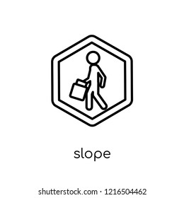 Slope sign icon. Trendy modern flat linear vector Slope sign icon on white background from thin line traffic sign collection, editable outline stroke vector illustration