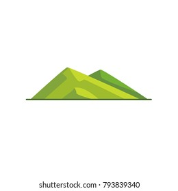 Sloping hills icon in flat style. Low mountain symbol on white background