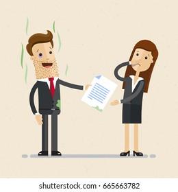 Sloppy businessman. Vector, illustration, flat