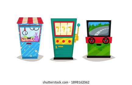 Slot or Arcade Machines Vector Set. Gaming Industry Equipment Collection