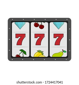 Slot machine 777 display. Simple flat design isolated on white background