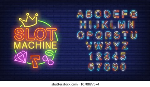Slot machine and alphabet neon sign set. Colorful letters and numbers, seven, diamond, crown and cherry. Night bright advertisements. Vector illustrations in neon style for gambling