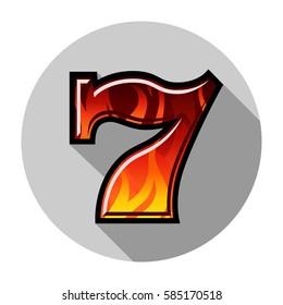 Slot machine blazing seven color vector illustration