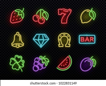 Slot machine bright neon vector symbols. Casino light gambling icons. Illustration of icons casino game neon, fortune and gambling