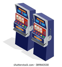 Slot machine casino, game, vegas, jackpot, 777. Casino popular gambling. Game of fortune.  Banner, flyer, card. Gold one arm bandit.