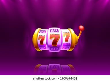 Slot machine coins wins the jackpot. 777 Big win casino concept. Vector illustration