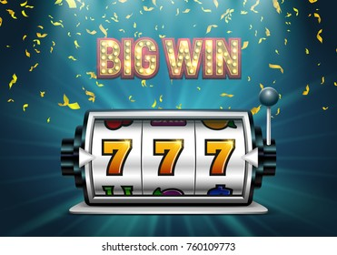 Slot machine with falling confetti. Lucky seven on slot machine. Vector illustration.