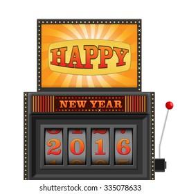 Slot machine, gamble machine - Happy New Year 2016. Isolated on a white background.