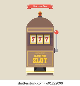 Slot machine gambling casino item. Flat style vector illustration