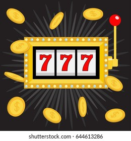 Slot machine. Golden Glowing lamp light. 777 Jackpot. Lucky sevens. Flying coin money. Red handle lever. Big win Online casino, gambling club sign. Flat design. Black shining star background. Vector