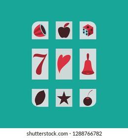 Slot machine icon isolated on background. Flat illustration.