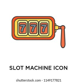 Slot machine icon vector isolated on white background for your web and mobile app design, Slot machine logo concept