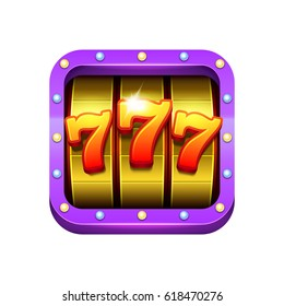 Slot machine illustration. Casino game icon design. Eps10 vector.