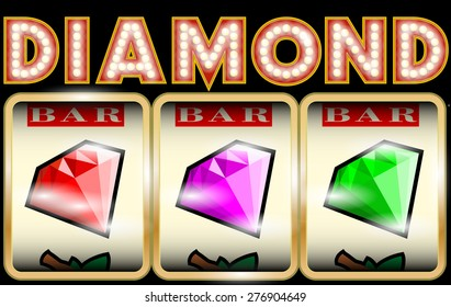 Slot Machine Illustration with diamonds