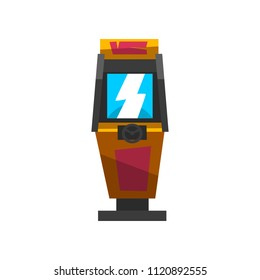 Slot machine with joystick, electronic virtual game machine vector Illustration on a white background