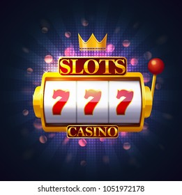 Slot machine with lever and three sevens on screen. Casino fruit machine or puggy, pokies or one-armed bandit with 777. Jackpot and gambling, risk and entertainment, winning and luck theme