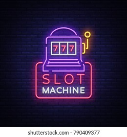 Slot machine logo in neon style. Neon sign, bright luminous banner, night billboard, bright nightly advertising of casinos, gaming machines and gambling for your projects. Vector illustration