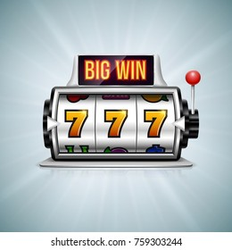Slot machine. Lucky seven on slot machine. Vector illustration.