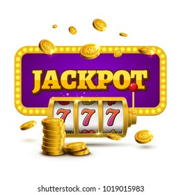 Slot machine lucky sevens jackpot concept 777. Vector casino game. Slot machine with money coins. Fortune chance jackpot.