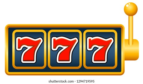 Slot machine with lucky sevens jackpot. graphic vector