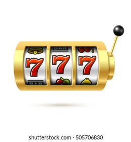 Slot machine with lucky sevens jackpot. Vector illustration.