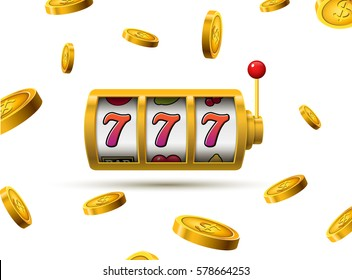 Slot machine lucky sevens jackpot concept. Vector casino game. Slot machine with money coins. Fortune chance jackpot