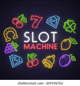 Slot machine neon sign, bright signboard, light banner. Casino logo, emblem