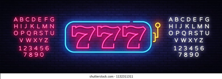 Slot Machine neon sign vector. 777 Slot Machine Design template neon sign, light banner, neon signboard, nightly bright advertising, light inscription. Vector illustration. Editing text neon sign