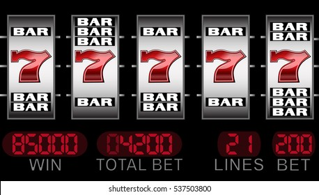 slot machine with seven symbol and bars