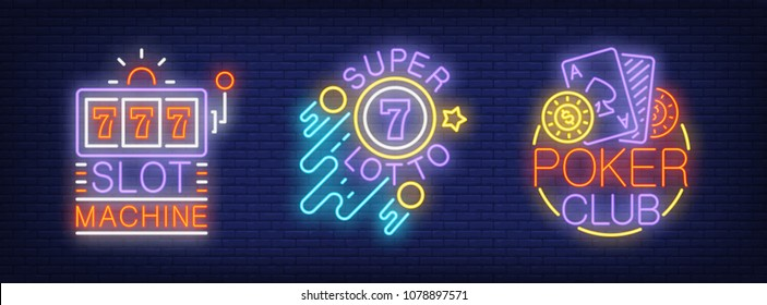 Slot machine, super lotto, poker club neon sign set. Logo collection with lotto ball and playing card. Night bright advertisements. Vector illustrations for casino
