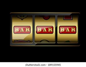 Slot machine symbols on black background. Three bar signs. Vector illustration