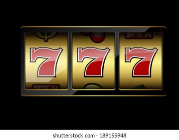 Slot machine symbols on black background. Lucky seven. Vector illustration