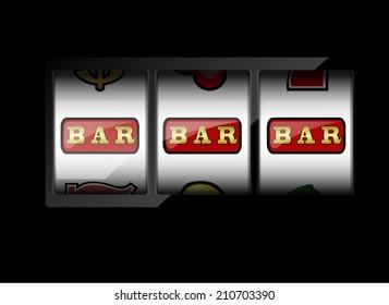 Slot machine symbols on black background. Three bar signs.